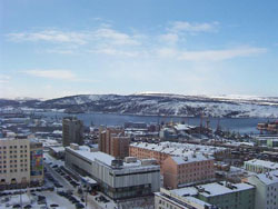 Murmansk covered by snow
